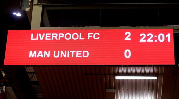 A general view of the scoreboard at the final whistle during the UEFA Europa League, Round of Sixteen, First Leg match at Anfield, Liverpool. Peter Byrne/PA Wire