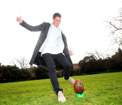 Dan Carter in Fitzwilliam Square yesterday to help launch the Foroige Youth Citzenship Awards in partnership with Aldi (Leon Farrell/Photocall Ireland)