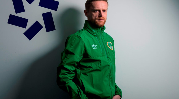 10 March 2016; Irish soccer legend Damien Duff was on hand to celebrate the new Republic of Ireland jersey going on sale at Life Style Sports. The brand announced that it will be supporting Irish supporters by putting 12 football trips to France up for grabs for anyone who buys their jersey at Life Style Sports from today, 10th March, to 27th May. For further information on how to enter please see www.lifestylesports.com/greenticket. Life Style Sports, Grafton Street, Dublin. Picture credit: Brendan Moran / SPORTSFILE