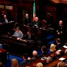 Newly elected Ceann Comhairle Sean O Fearghail addresses the 32nd Dail. Photo: Maxwell's