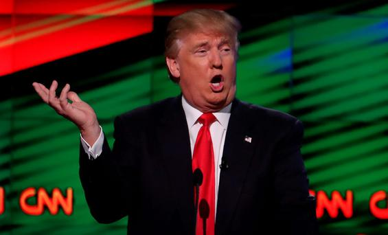 Republican U.S. presidential candidate Donald Trump speaks during the Republican candidates debate sponsored by CNN at the University of Miami in Miami, Florida, March 10, 2016