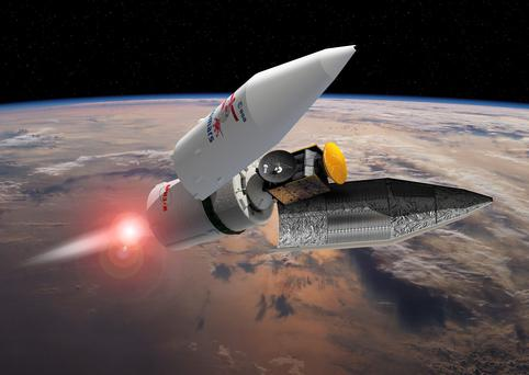 Undated handout artist impression issued by the European Space Agency of the separation of the payload fairing during the ExoMars 2016 launch sequence