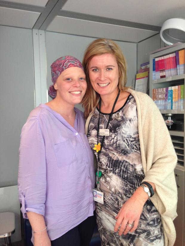 Lyndsey pictured with her Daffodil Nurse Teresa during her treatment