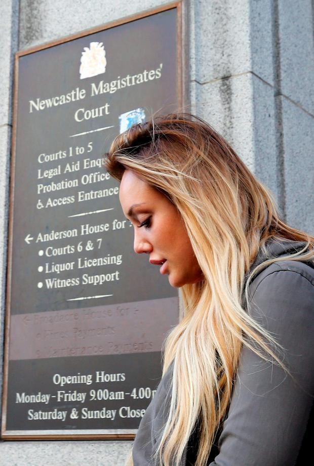 Reality TV star Charlotte Crosby leaving Newcastle Magistrates' Court where she was charged with drink-driving Credit: Owen Humphreys/PA Wire