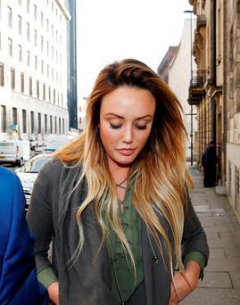Reality TV star Charlotte Crosby arriving at Newcastle Magistrates' Court where she is charged with drink-driving Credit: Owen Humphreys/PA Wire