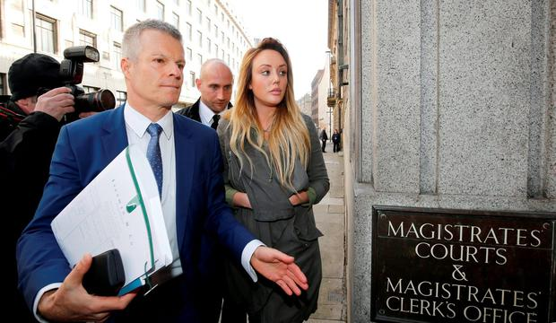 Reality TV star Charlotte Crosby and solicitor Nick Freeman arriving at Newcastle Magistrates' Court where she is charged with drink-driving Credit: Owen Humphreys/PA Wire