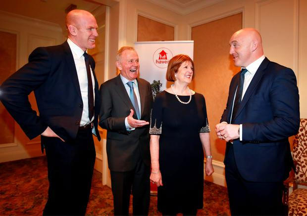 Leslie and Carmel Buckley, founders of the charity Haven, pictured with Haven Ambassador Paul O Connell, and Keith Wood, at the Haven 6 Nations Rugby lunch in the Intercontinental Hotel in Ballsbridge. Picture Credit: Frank Mc Grath