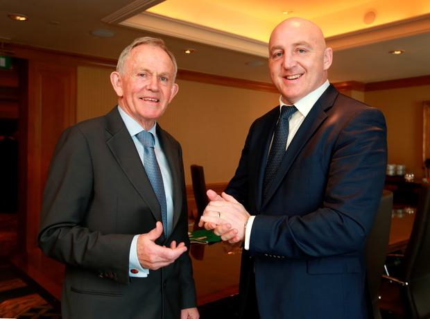Leslie Buckley, Chairman of Independent News & Media and founder of Haven, pictured before he presented Keith Wood with the Haven Outstanding Contribution to Irish Rugby Award, at the Haven 6 Nations Rugby lunch in the Intercontinental Hotel in Ballsbridge. Picture Credit: Frank Mc Grath
