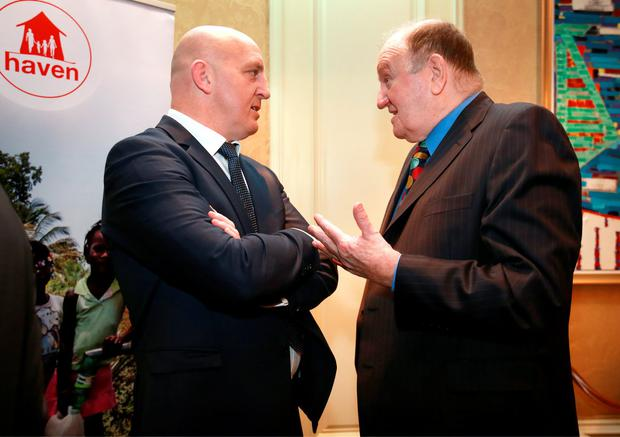 George Hook chats with Keith Wood at the Haven 6 Nations Rugby lunch in the Intercontinental Hotel in Ballsbridge. Picture Credit: Frank Mc Grath