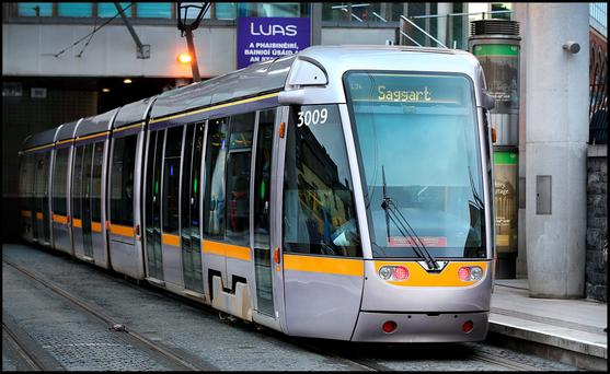 Luas at Connolly Station. Photo: Steve Humphreys