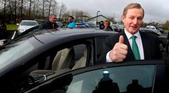 Taoiseach Enda Kenny after he cast his vote. Photo: Gerry Mooney