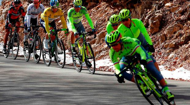 The Tinkoff-Saxo riders lead their team leader Alberto Contador (left) down a descent during yesterday's Stage 5 of Paris-Nice (Getty Images)