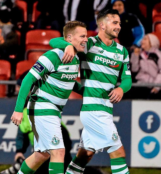 Shamrock Rovers' Danny North celebrates scoring his side's first goal with team-mate Mikey Drennan. Photo: David Maher / Sportsfile
