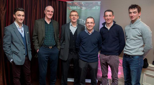 Thomas Malone from Paddy Power, Eddie Harty, Turf Club Senior Handicapper Noel O'Brien, Richard Forristal, Davie Russell and Patrick Mullins at the Irish Independent Cheltenham Preview Night at the Talbot Hotel in Stillorgan (Arthur Carron)