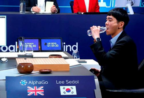 The world's top Go player Lee Sedol drinks water after putting the first stone against Google's artificial intelligence program AlphaGo during the third match of Google DeepMind Challenge Match in Seoul, South Korea REUTERS/Google/Yonhap