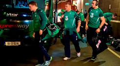 Ireland's Josh van der Flier, left, Nathan White, centre, and Ultan Dillane