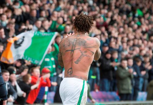 Celtic's Colin Kazim-Richards applauds the fans after the Ladbrokes Scottish Premiership match at Firhill