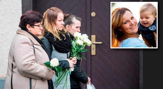 Anna Rozycki at the funeral of her eleven-month-old son Karol (inset)