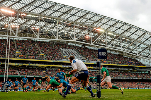 Ireland's Ian Madigan goes over to score a try during yesterday's Six Nations win over Italy at the Aviva Stadium. Photo: Stephen McCarthy. Picture credit: Stephen McCarthy / Sportsfile