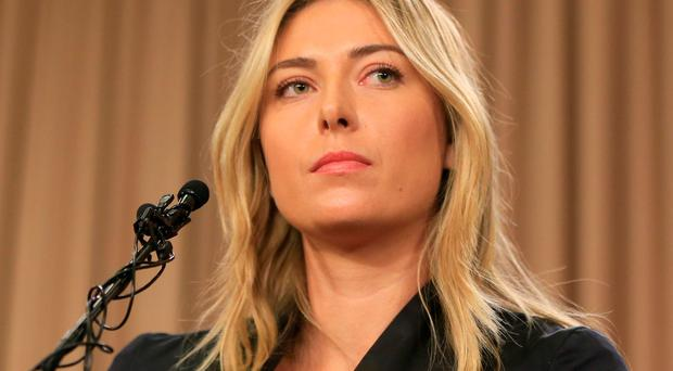Tennis star Maria Sharapova speaks during a news conference in Los Angeles on Monday Photo: AP