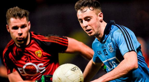 Cormac Costello, Dublin, in action against Gerard Collins, Down. Allianz Football League, Division 1, Round 5, Down v Dublin. Páirc Esler, Newry, Co. Down. Picture credit: Oliver McVeigh / SPORTSFILE