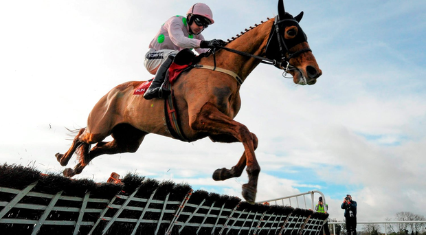 Annie Power, with Ruby Walsh up, jumps the last on their way to winning the punchestown.com Mares Hurdle Photo: Seb Daly/Sportsfile
