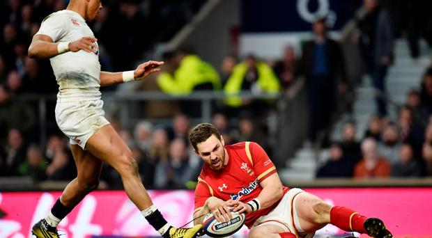 George North scores the second try for Wales. Photo: Reuters