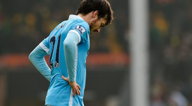 Manchester City's David Silva looks dejected after the game. Photo: Reuters