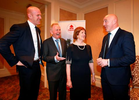 WINNER: Haven ambassador Paul O'Connell with charity founders, Leslie and Carmel Buckley, and Keith Wood, who received the Haven Outstanding Contribution to Irish Rugby Award. Photo: Frank McGrath