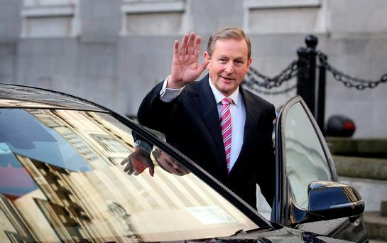 LEADER: Enda Kenny on his way to see President Higgins at the Aras. Photo: Tom Burke