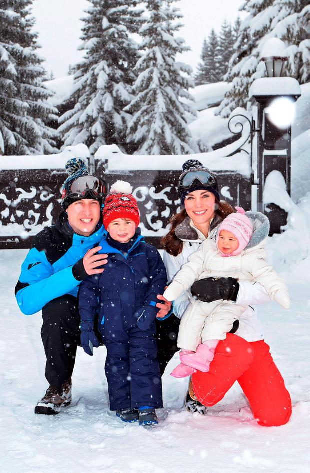 FROM BOY TO MAN: William and Kate with their children, Prince George and Princess Charlotte, in the French Alps