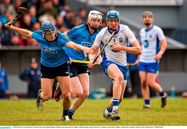 13 March 2016; Austin Gleeson, Waterford, in action against Eoghan O'Donnell and Shane Barrett, Dublin. Allianz Hurling League, Division 1A, Round 4, Waterford v Dublin. Walsh Park, Waterford. Picture credit: Matt Browne / SPORTSFILE