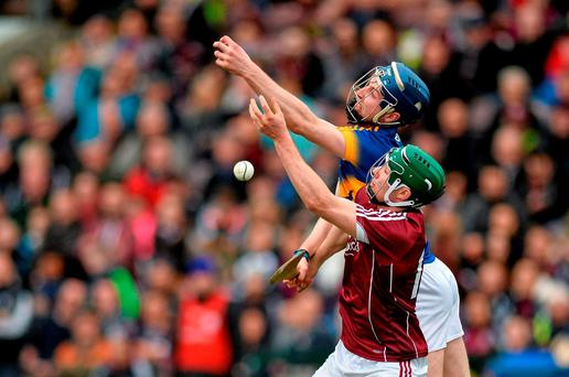 Cathal Mannion, Galway, in action against Tomas Hamill, Tipperary. Allianz Hurling League, Division 1A, Round 4, Galway v Tipperary. Pearse Stadium, Galway. Picture credit: Ray Ryan / SPORTSFILE