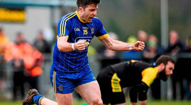 Cathal Cregg, Roscommon, celebrates after scoring his side's first goal. Allianz Football League, Division 1, Round 5, Donegal v Roscommon. O'Donnell Park, Letterkenny, Co. Donegal. Picture credit: Oliver McVeigh / SPORTSFILE