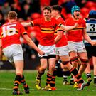 CBC players celebrate at the final whistle. Munster Schools Senior Cup Final, CBC v Crescent College Comprehensive. Irish Independent Park, Cork. Picture credit: Eóin Noonan / SPORTSFILE