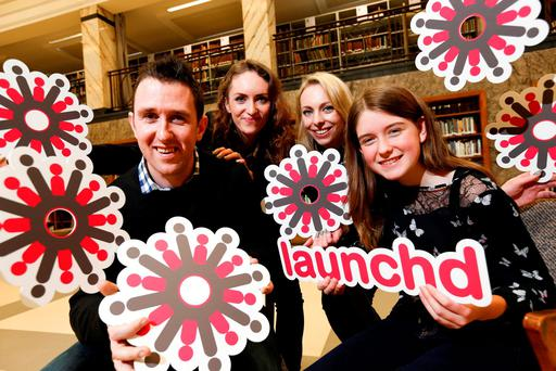 Young coder Niamh Scanlon, European Digital Girl of the Year 2016, with Coolest Project Organiser Noel King, and Jennie and Sarah McGinn of OPSH.com at the announcement of Launch'd, where the hottest 100 tech start-ups in Ireland will gather to inspire the country's coolest young coders at the RDS on June 18. Below, coder Jake O'Toole. Photo Conor McCabe