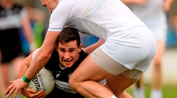 Sligo's Niall Murphy is challenged by Kildare midfielder Tommy Moolick Photo: Piaras Ó Mídheach / SPORTSFILE