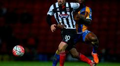 Padraig Amond in action for Grimsby with whom he has 27 goals this season. Photo: Catherine Ivill - AMA/Getty Images