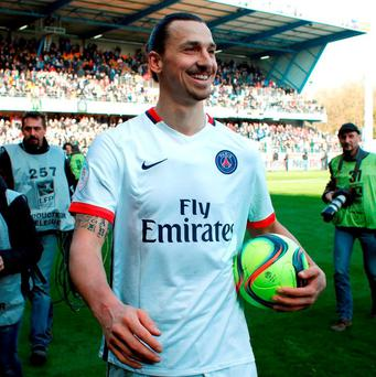 PSG's Zlatan Ibrahimovic scored four second-half goals as Paris Saint-Germain clinched its fourth straight French league title in style, pulverizing last-place Troyes 9-0 on Sunday to become champion with a record eight games to spare. Photo: Thibault Camus/AP Photo
