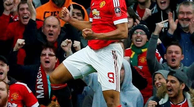 Anthony Martial celebrates scoring Manchester United's first goal. Photo: Andrew Yates/Reuters