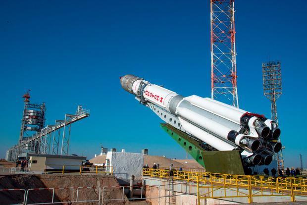 Undated handout photo issued by the European Space Agency of the Proton rocket carrying ExoMars 2016 being raised onto its launch pad at the Baikonur Cosmodrome, Kazakhstan