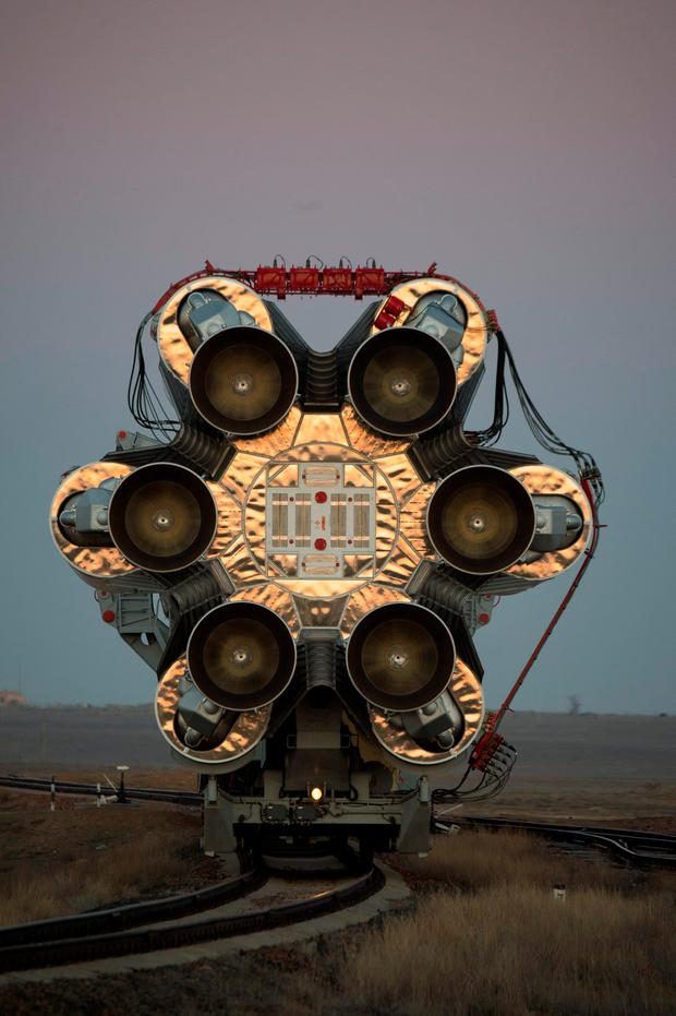 The Proton rocket, that will launch the ExoMars 2016 spacecraft to Mars, is transfered to the launchpad at the Baikonur cosmodrome, Kazakhstan, in this handout photo released by European Space Agency (ESA) on March 11, 2016
