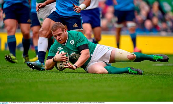 12 March 2016; Sean Cronin, Ireland, scores his side's sixth try. RBS Six Nations Rugby Championship, Ireland v Italy. Aviva Stadium, Lansdowne Road, Dublin. Picture credit: Ramsey Cardy / SPORTSFILE
