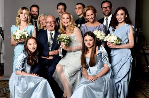 Jerry Hall shared this family portrait after her wedding to Rupert Murdoch. Picture: David Bailey via Jerry Hall/Twitter