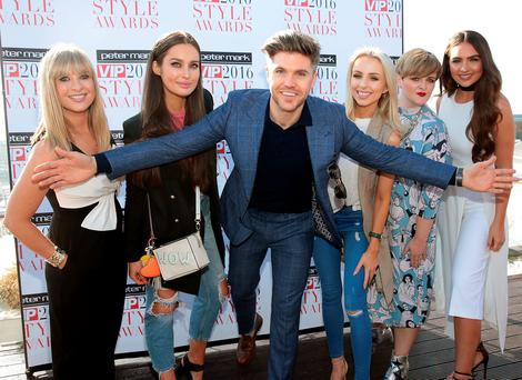 Host Darren Kennedy with nominees (l to r) Laura Woods, Roz Purcell, Rosie Connolly, Louise McSharry and Shauna Lindsay at the launch of the Peter Mark VIP Style Awards 2016 at The Marker Hotel, Dublin. Picture: Brian McEvoy