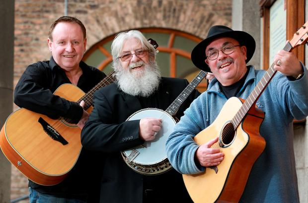 Flying the flag on Montserrat: Musicians Tommy Keane, Br Tom Phelan and Martin Healy.