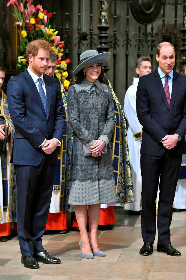 Britain's Prince Harry, Catherine, Duchess of Cambridge, and Prince William. Reuters/Geoff Pugh/pool