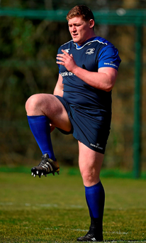 Leinster's Tadhg Furlong goes through his warm-up routine during training in Belfield yesterday. Photo: Brendan Moran/Sportsfile