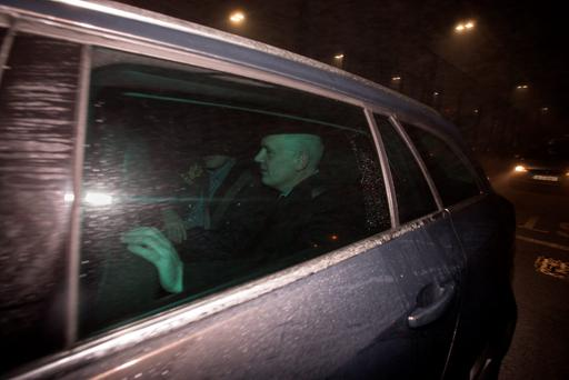David Drumm leaving Dublin Airport yesterday morning after arriving from Boston. Photo: Mark Condren