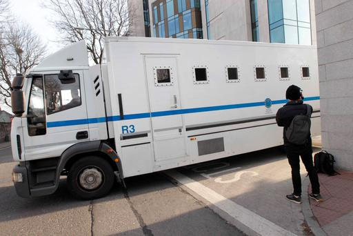 The prison van in which David Drumm left the Dublin District Court yesterday. Photo: Sam Boal